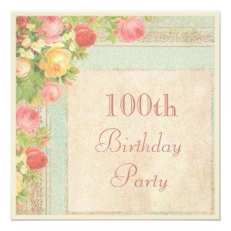 Elegant Vintage Roses 100th Birthday Party Card