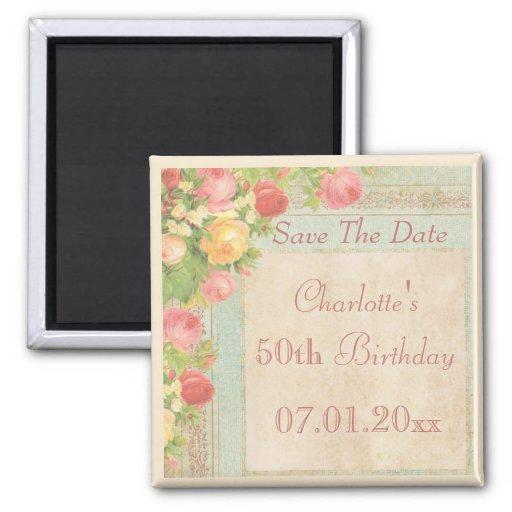Elegant Vintage Roses 50th Birthday Save The Date Refrigerator Magnets
