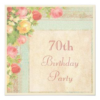 Elegant Vintage Roses 70th Birthday Party 13 Cm X 13 Cm Square Invitation Card