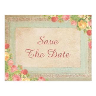 Elegant Vintage Roses Sweet 16 Save The Date Postcard