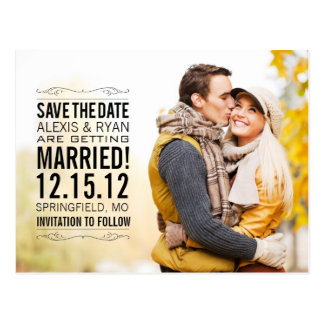 Elegant Vintage Save The Date Wedding Postcard