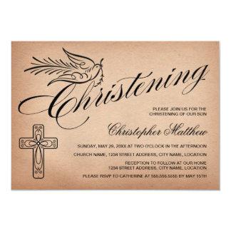 Elegant Vintage Script Cross and Dove Christening 13 Cm X 18 Cm Invitation Card