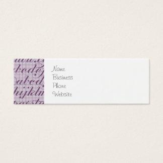 Elegant Vintage Script Typography Lettering Purple Mini Business Card