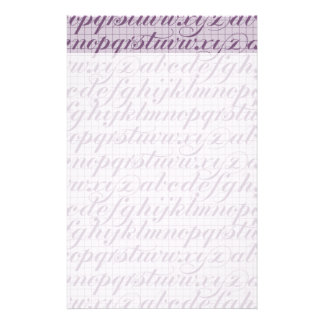 Elegant Vintage Script Typography Lettering Purple Personalized Stationery