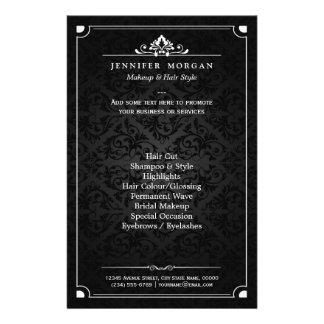 Elegant Vintage Shadow Damask Beauty Salon Flyer