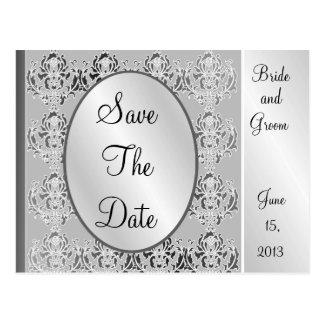 Elegant Vintage Silver Save The Date Postcards
