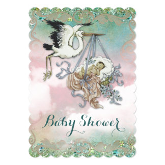 "Elegant Vintage Stork Baby Shower 5"" X 7"" Invitation Card"