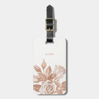 Elegant Vintage Tea Roses Luggage Tag
