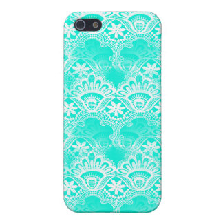 Elegant Vintage Teal Turquoise Lace Damask Pattern iPhone 5 Cases