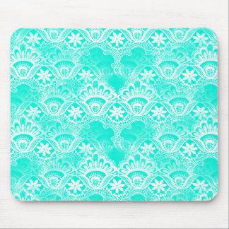 Elegant Vintage Teal Turquoise Lace Damask Pattern Mouse Pads