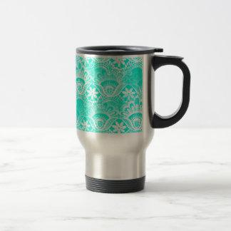 Elegant Vintage Teal Turquoise Lace Damask Pattern Travel Mug