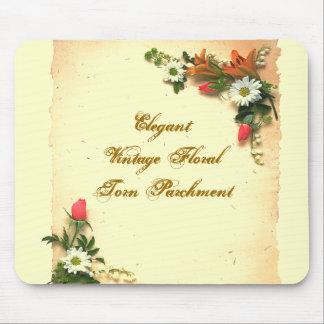 Elegant Vintage Torn Floral Parchment Mousepad