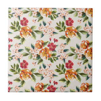 Elegant Vintage Watercolor Flowers Pattern Small Square Tile