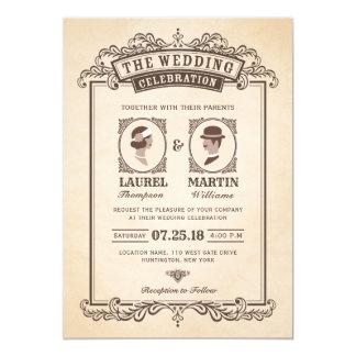 Elegant Vintage Wedding Invitation   Bride & Groom