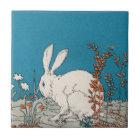 Elegant Vintage White Rabbit Ceramic Tile
