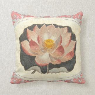 Elegant Vintage Yoga Lotus Blossom Peach Damask Cushion