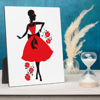 Elegant vintage young woman red black silhouette display plaque