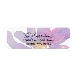 Elegant Violet Lavender Watercolor Floral Return Address Label