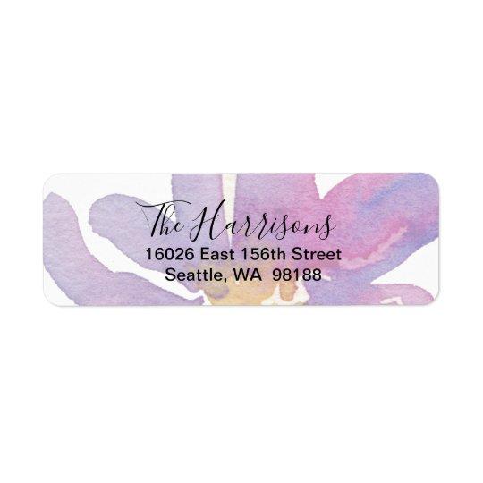 Elegant Violet Lavender Watercolor Floral Return Address Label