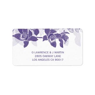 Elegant Violet Orchids Floral Label