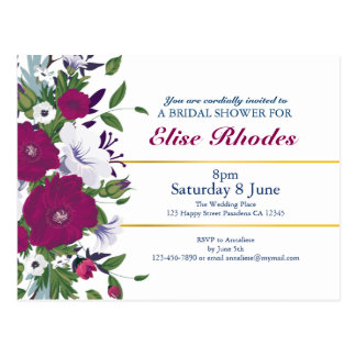 Elegant violet purple floral bouquet bridal shower postcard