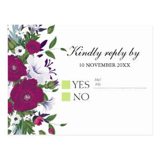 Elegant violet purple floral bouquet RSVP Postcard
