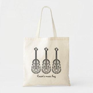Elegant violin pattern tote bag