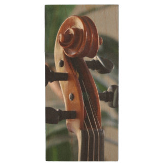 Elegant Violin Scroll Wood USB Flash Drive