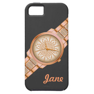 Elegant watch design retro pink gold for iphone5 case for the iPhone 5
