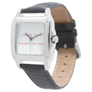 Elegant watch on genuine leather wrist strap