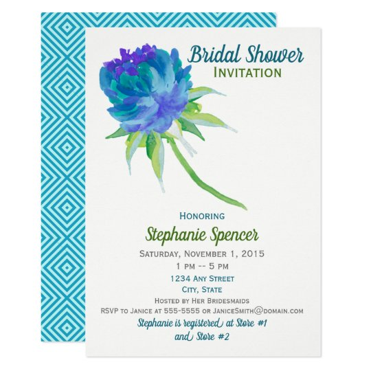 Elegant Watercolor Blue Floral Bridal Shower Card