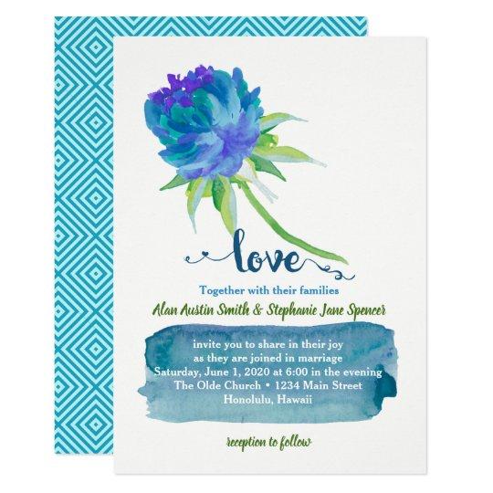 Elegant Watercolor Blue Floral Wedding Card