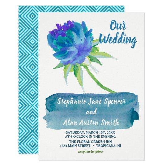 Elegant Watercolor Blue Floral Wedding Invitation