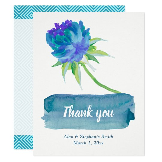 Elegant Watercolor Blue Floral Wedding Thank You Card