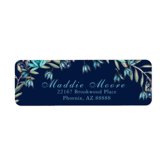 Elegant Watercolor Blue/Teal Floral Pattern Return Address Label