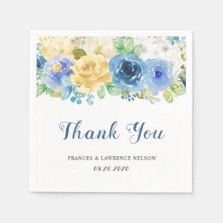 Elegant Watercolor Blue Yellow Rose Garden Wedding Disposable Serviette
