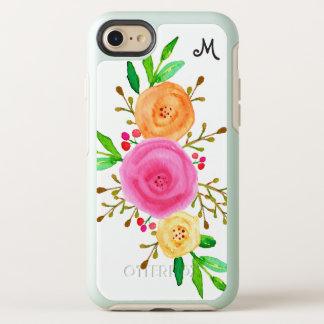 Elegant Watercolor Botanical Floral Monogram OtterBox Symmetry iPhone 8/7 Case