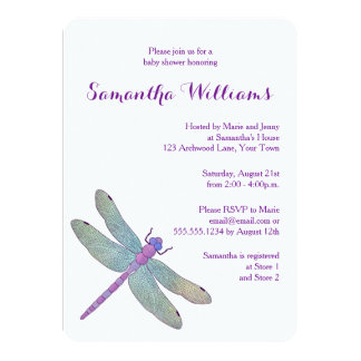Elegant  Watercolor Dragonfly Baby Shower Card