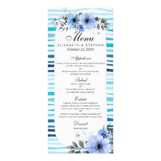 Elegant Watercolor Floral Blue Stripe Wedding Menu