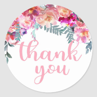 Elegant Watercolor Floral Drop Thank You Classic Round Sticker