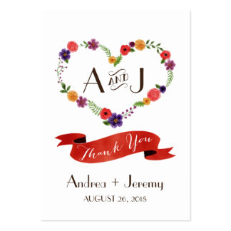 Elegant Watercolor Floral Heart Wreath Favor Tags Business Card Template