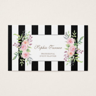 Elegant Watercolor Floral Stripes Custom Business Card