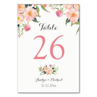 Elegant Watercolor Floral Wedding Table Number