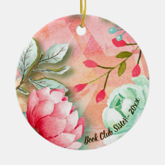 Elegant Watercolor Flower Floral Book Club Sister Ceramic Ornament