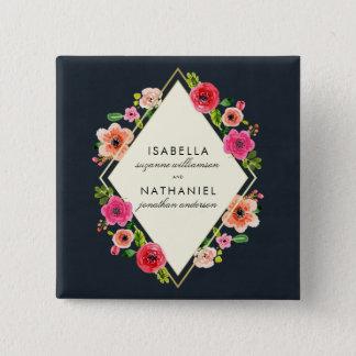 Elegant Watercolor Flowers | Gold Frame Wedding 15 Cm Square Badge