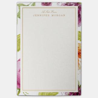 Elegant Watercolor Garden Flowers Stylish Frame Post-it Notes