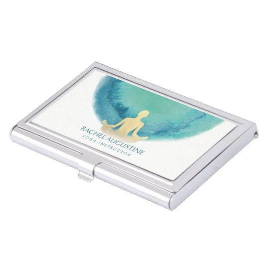 Elegant Watercolor Gold Meditation Yoga Instructor Business Card Holder