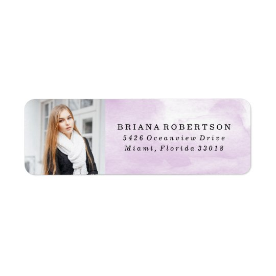 Elegant Watercolor Graduation Photo Address Labels