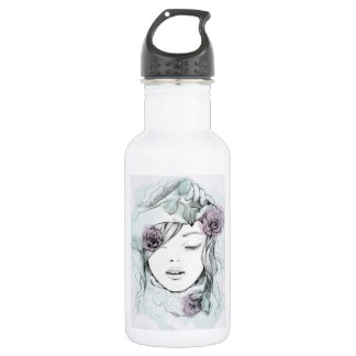 Elegant watercolor hand drawn woman  illustration 532 ml water bottle