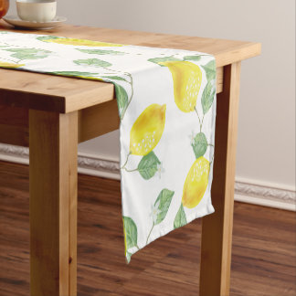 Elegant Watercolor Lemons & Blossoms Short Table Runner